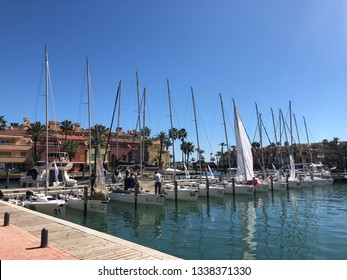 Sotogrande, Spain March 10 2019; J80 sailing boats on their moorings in sotogrande marina