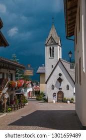 SOTTOGUDA, VENETO - JULY 20, 2018: Little church in the picturesque mountain village of Sottoguda in Veneto