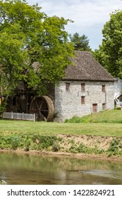 Soudersburg, PA, USA - June 9, 2019: The John Herr Grist Mill, established in 1738 along the Pequea Creek, is a water-driven