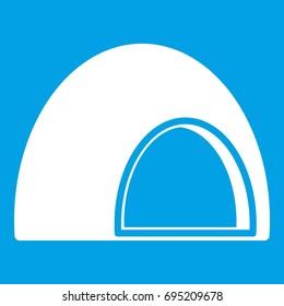 Souffle icon white isolated on blue background  illustration