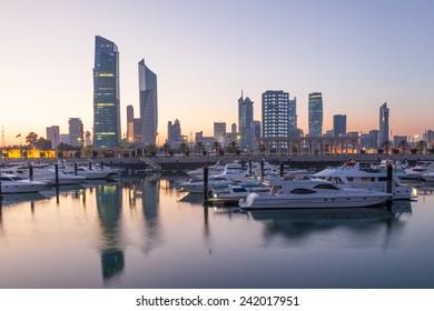 Souk Sharq Marina and Kuwait City at dusk