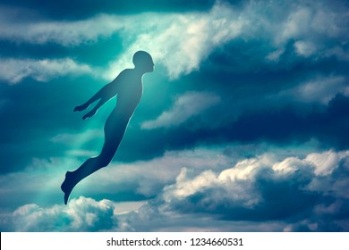 Soul Ascension. Ghost of a man taken up into heaven. Afterlife, meditation and dream concept