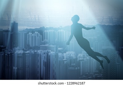 Soul of deceased man flying into the white light and afterlife of heaven