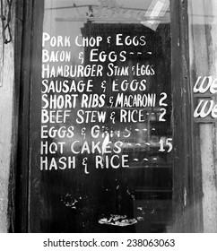 Soul Food; Menu in the window of a restaurant, Detroit, Michigan, photo by Arthur S. Siegel, 1940.
