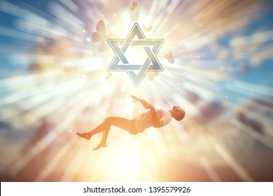 The soul of a man rises towards the sky against the backdrop of the symbol of Judaism, the Star of David. The concept of hope, faith, a symbol of freedom.