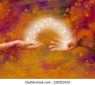 Soul mate Interaction  -  Man and woman both with one hand each palm up with an arc of white light and sparkles joining them on an amber colored energy formation background