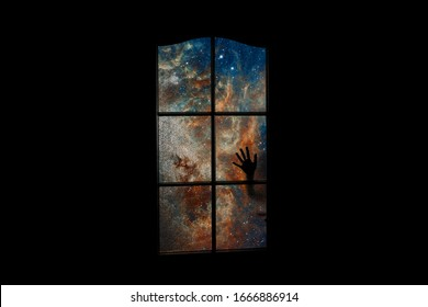 Soul in outer space behind closed door. Many stars and blue nebula in dark room. Astral body locked up. Abstract image of clinical death, coma, subconscious. Elements of this image furnished by NASA.