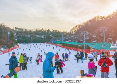 Soul,Korea-Jan 4,2016: Skier both Koreans and foreigners to come skiing at Vivaldi Park Ski Resort is the Ski area, the hotel and the famous resort of Korea on vacation in the winter every year.