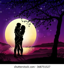 Soulmate couple silhouette with sunrise and landscape