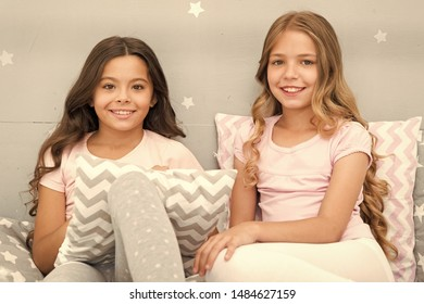 Soulmates girls having fun bedroom interior. Best friends forever. Childhood friendship concept. Girls best friends sleepover domestic party. Girlish leisure. Sleepover time for fun gossip story.
