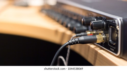 Sound Amplifier connect to microphone and mixer in the Recording Studio Background with Copy space