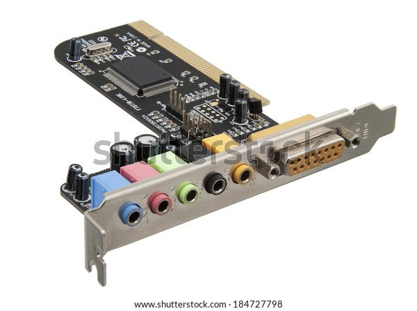 Sound card for computer isolated on white background with clipping path