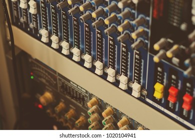 sound check for concert. Mixer control. Music engineer. Backstage