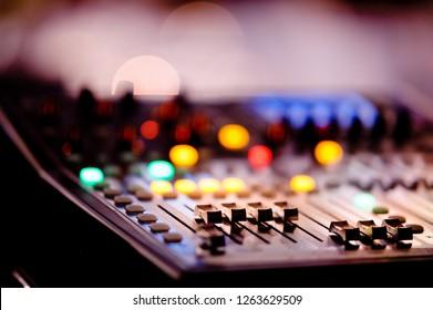 sound check for concert, mixer control,