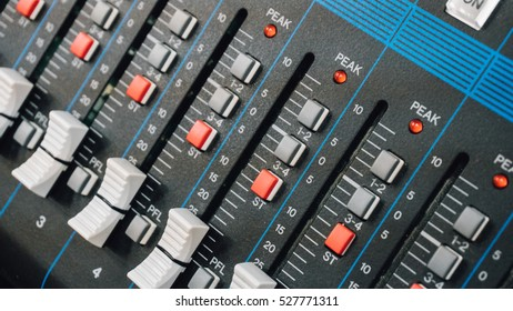 sound console, mixer,  professional sound. Shallow focus