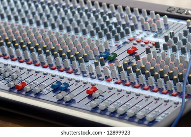 Sound control mixer used during musical concerts.