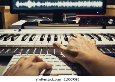 sound engineer, composer working in digital editing & recording studio for post production or broadcasting. art filter