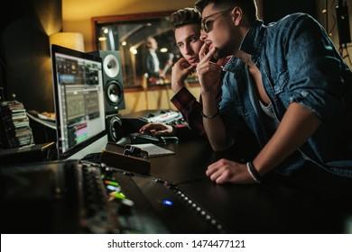 Sound engineer working in a music studio