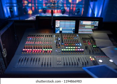 sound equipment at the concert. television shooting