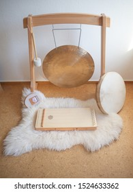 Sound healing set up with gong, shamanic drum, sansula and monochord.