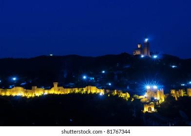 Sound and Light Show on Tsarevets Hill, Veliko Tarnovo, Bulgaria.
