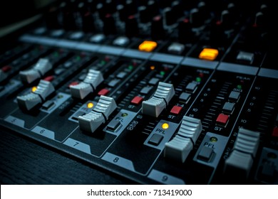 Sound mixer board with the buttons and sliders