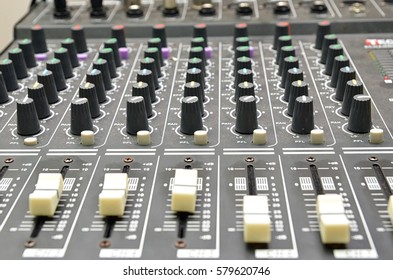 Sound mixer. Close up and soft focus on blurred background.