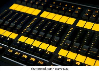 Sound mixer control panel, closeup.