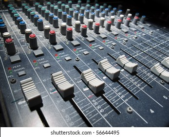 Sound mixer, low angle shot with shallow DOF, useful for various music and sound themes
