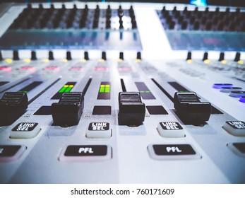 Sound mixer in studio TV station