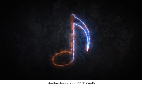 Sound note icon. The note is on fire 24