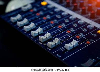 Sound operator console. Sound mixer control panel. Music recording Studio.