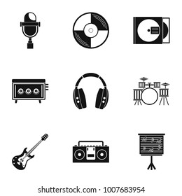 Sound producing icon set. Simple style set of 9 sound producing  icons for web isolated on white background