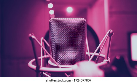 Sound production recording studio with microphone and shock mount and pop filter on tripod which use for vocalist or narrator or dj on brodcasting or professional creator live online channel