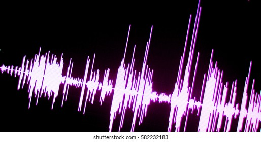 Sound recording studio audio wave on computer screen in professional editing program for voice, vocal, dj deejay musical mixing