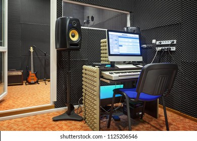 Sound recording studio interior. Sound engineer workplace.