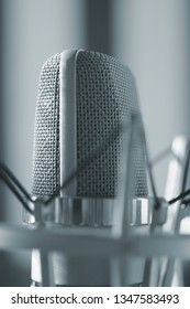 Sound recording studio large diaphragm voice microphone for voiceover, singing and instruments.