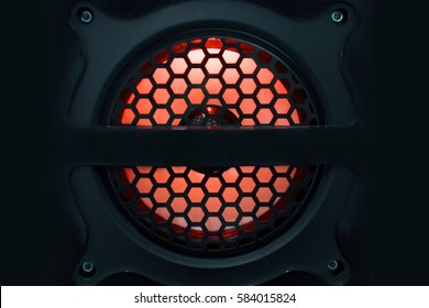 Sound speakers dynamics and Red light for music Background.