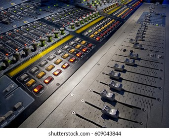 sound studio adjusting record equipment. switching and transmission of sound