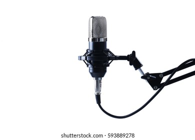 Sound studio. Microphone in close-up