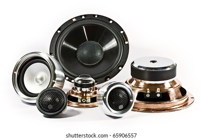 sound system of car audio speakers and stereos on white background.