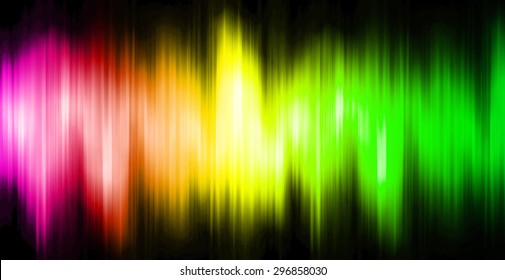 Sound waves oscillating magic glow pink yellow green light, modern Abstract pattern technology background. motion move blur. ray. beam. aura. dark