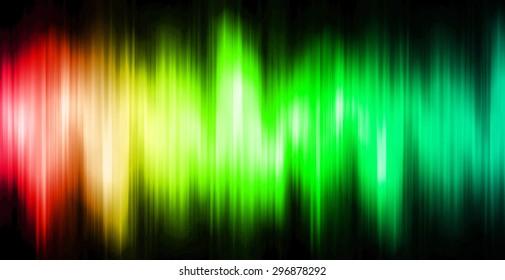 Sound waves oscillating magic glow red green blue light, modern Abstract pattern technology background. motion move blur. ray. beam. aura. dark