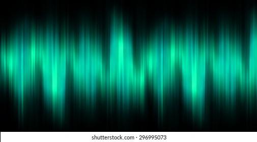 Sound waves oscillating magic glow blue green light, modern Abstract pattern technology background. motion move blur. ray. beam. aura. dark