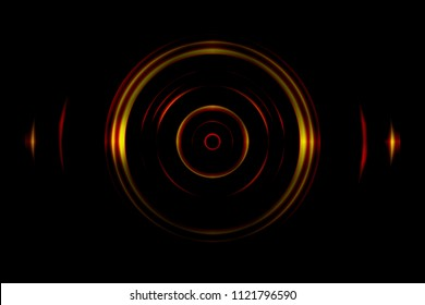 Sound waves oscillating orange light with circle spin abstract background