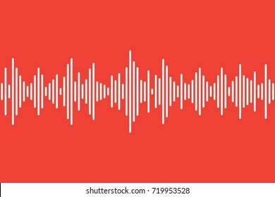 Sound waves. Simple white lines on orange background. Equalizer dynamic visual effect. Abstract illustration.