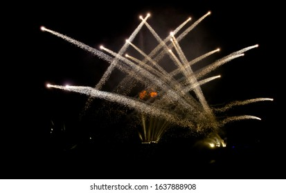 sounds and light show with fireworks