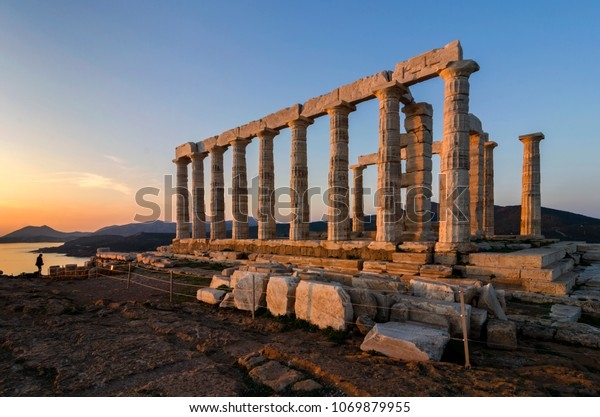 Sounion, Attica / Greece. Temple of Poseidon at Cape Sounion. One of the Twelve Olympian Gods in ancient Greek religion and myth. He was god of the Sea and other waters, of earthquakes and of horses