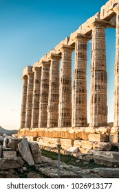 Sounion, Temple of Poseidon in Greece, at Sunset Golden Hour