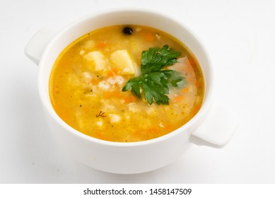 soup with barley on white background